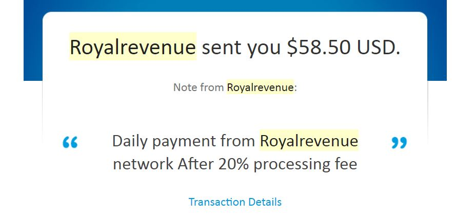 Royalrevenue Payment Proof Review