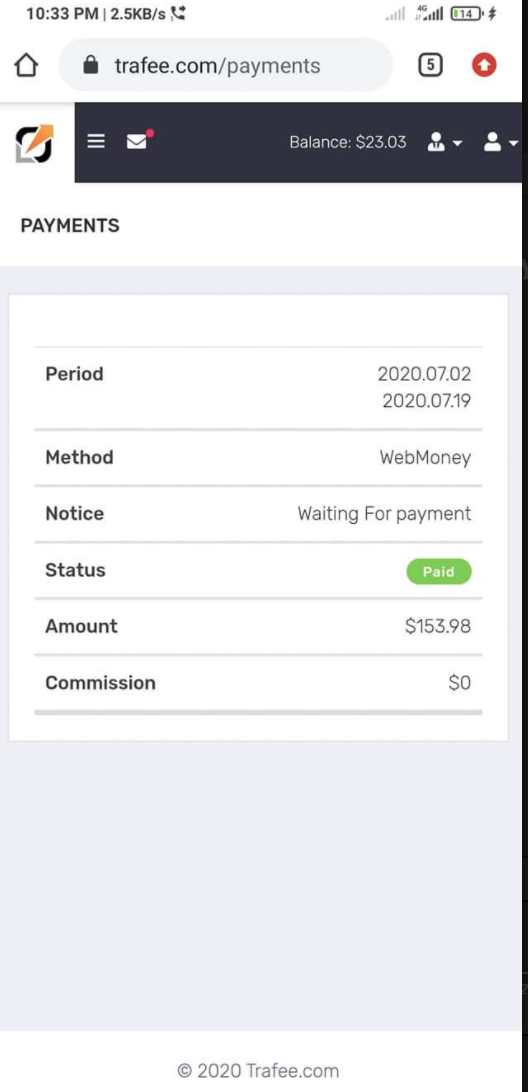 Trafee Payment Proof Review
